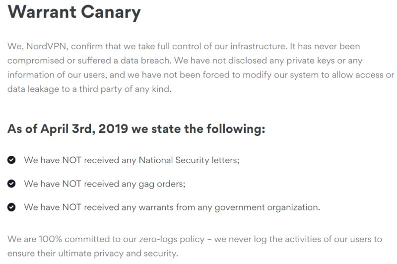 nord warrant canary